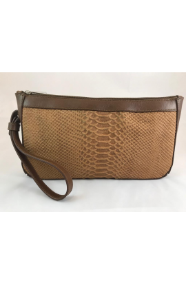 cartera de mano marron serpiente 362567